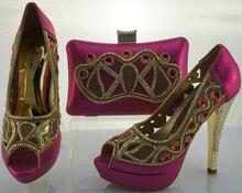 Neue Design African Schuhe Und Passende Mit Steinen Hohe Qualität Fashion Italienische Schuhe Mit Tasche Set Für Hochzeit ME1101