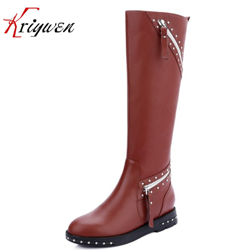 2017 Winter Women round toe punk style low heels knee high boots genuine leather leisure rivets dress plush shoes femmes botas