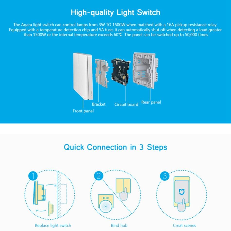 Xiaomi Aqara Light Switch Home Zigbee No Neutral Version Double Circuit Diagram Of Installation