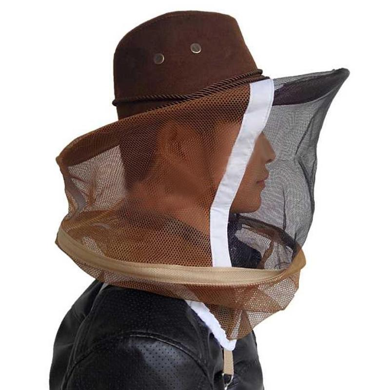 Beekeeping Hat Beekeeper Mask Cowboy Hat Mosquito Bee Net Veil Full Face Neck Cover Outdoor Bug Mesh Mask Head Protective Cap