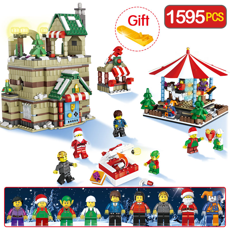 где купить 1595Pcs Legoingly Christmas Winter Village Christmas Series Carousel Santa Reindeer Building Bricks Blocks Toy For Children Gift дешево