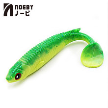 4pcs/lot NOEBY Soft Lure 5485 Worm Lead Jig T-Tail Fishing Bait Tackle Lures Swimbait 3D Eyes Pesca Swimbaits