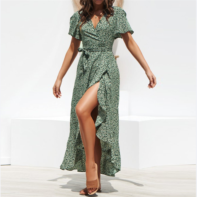 Summer Beach Maxi Dress Women Floral Print Boho Long Chiffon Dress Ruffles Wrap Casual V Neck