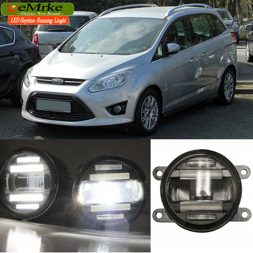 eeMrke Car Styling For Ford C-Max 2010-2014 2 in 1 LED Fog Light Lamp DRL With Lens Daytime Running Lights eemrke car styling for ford explorer 2013 2014 2015 2 in 1 led fog light lamp drl with lens daytime running lights