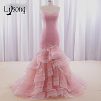 Modest Dusty Pink Mermaid Evening Dresses Womens Sheath Tiered Custom Made Long Strapless Formal Dress Red Carpet Maxi Gowns