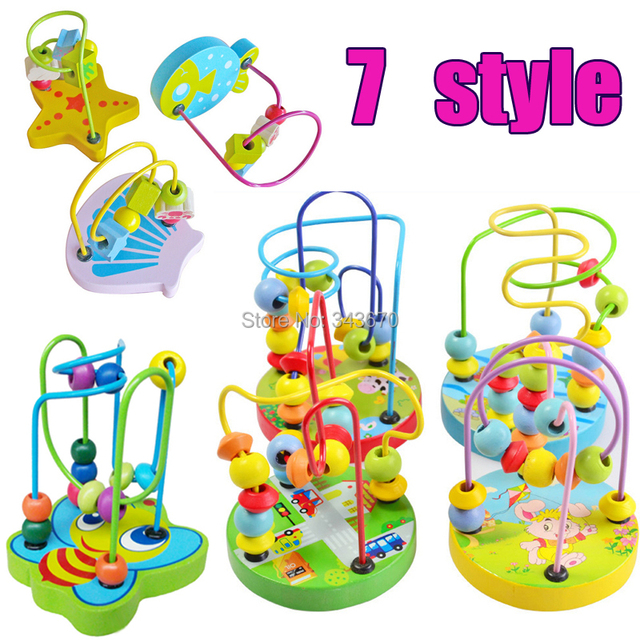 1pcs Baby Wooden Toy Mini Around Beads Wire Maze Montessori Colorful Educational Toddler Toys Game Children