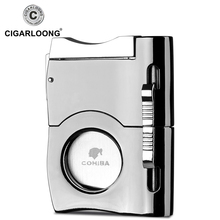 CIGARLOONG New Arrival Guillotine Double Blade Cigar Cutter Stainless Steel Cuban Cigar Cutters Knife Scissor Clippers CL-121 guillotine machine shearing steel blade