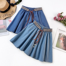 Wasteheart Spring Blue Women Skirt High Waist A-Line Long Skirt Mini Skirts Sexy Skirt Plus Size Casual Lace Up Skirts Beading casio mrw 210h 1a casio
