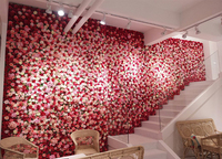 2M x 1M hot red high quality dense artifical silk roses wedding flower wall luxury flower backdrop Wedding props