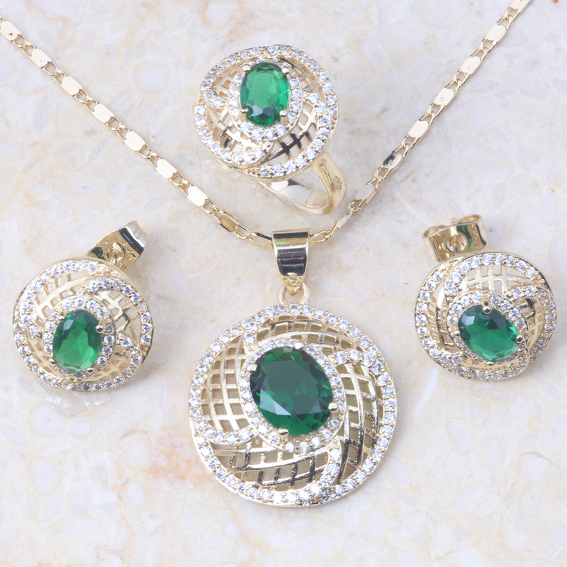 Jewelry-Sets Aaa Zircon Earring/ring-E092 for Green--White Gold-Colour Classiv