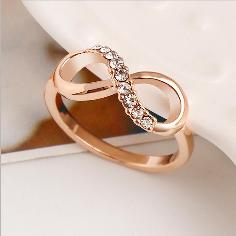 Stylish 8 Shaped Women Ring Finger Jewelry Rose Golden Korean Design ...