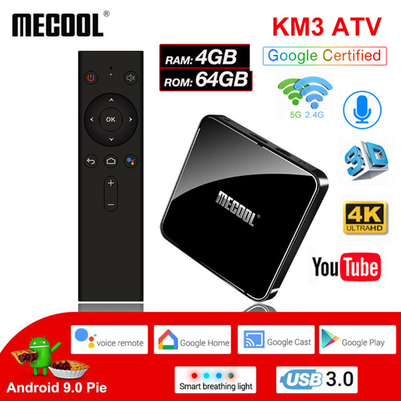 MECOOL Android 9 0 TV Box KM3Amlogic S905X2 4GB DDR4 RAM 64GB ROM Bluetooth 4 1