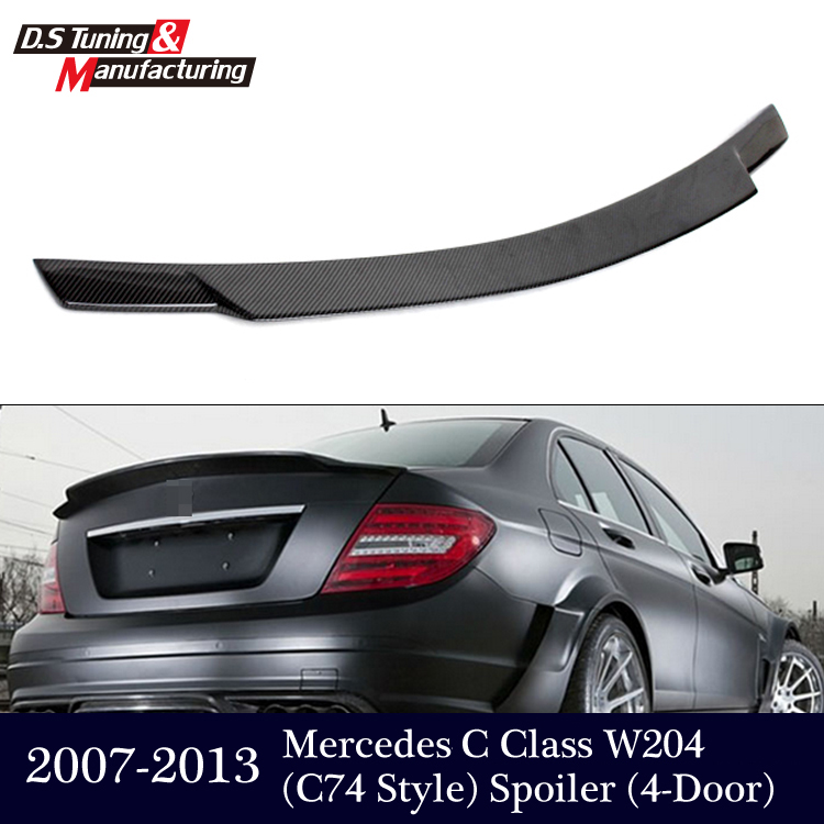Mercedes W204 C74 Style Carbon Fiber Spoiler For Benz C Class W204 4 - Doors 2007 - 2013 Sedan w204 c180 c200 c260 c300 carbon fiber car rear trunk lip spoiler wing for mercedes benz w204 c63 4 door 2008 2013 amg style