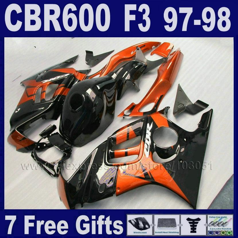 fairing kits orange ABS 7gifts for Honda CBR 600 F3 97 98 CBR600F3 1997 1998 black fairings  custom fairing Tank cover hot sales all white for honda vtr1000f 97 05 97 98 99 00 01 02 03 04 05 vtr1000 f vtr 1000 f 1000f 1997 2005 fairing
