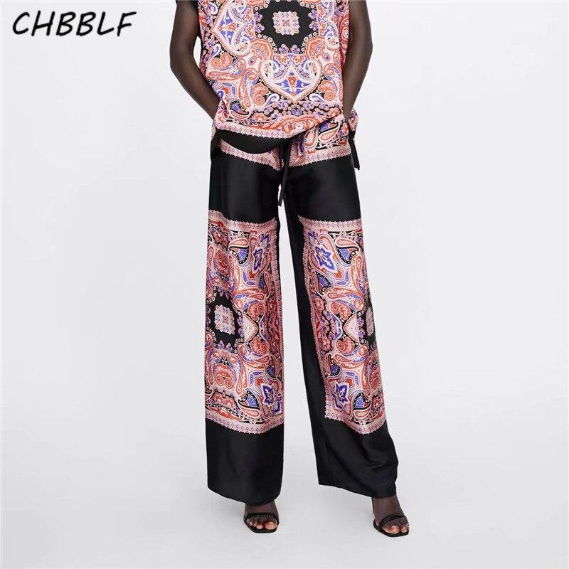 CHBBLF women paisley pattern   wide     leg     pants   drawstring tie elastic waist full length trousers long   pants   XSZ1934