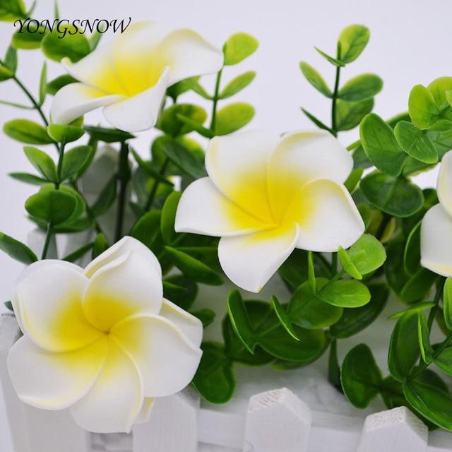 10 piezas Plumeria Hawaiana de Frangipani 5 cm flores tocado flor bebé ducha fiesta decoración de la boda de artesanías