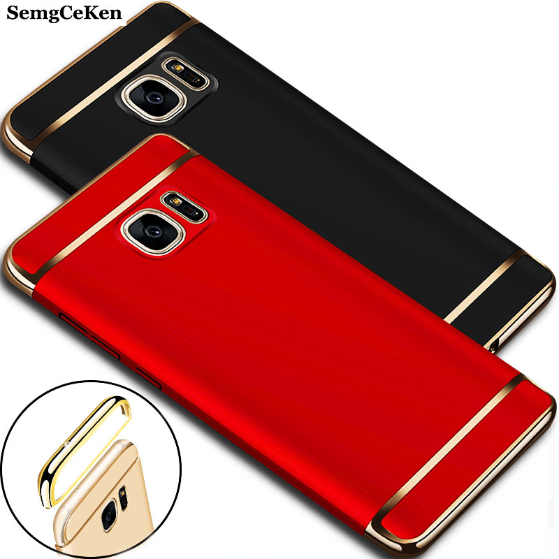 YueTuo Luxury <font><b>Case</b></font> For <font><b>Samsung</b></font> Galaxy <font><b>S7</b></font> S 7 <font><b>edge</b></font> S7edge <font><b>Original</b></font> Gold black Ultra Slim Matte Hard Plastic Phone Cover Coque image