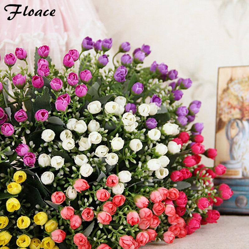 Floace 1 PC 아름다운 미니 실크 장미 꽃다발 인공 꽃 홈 인테리어 6 색 준비