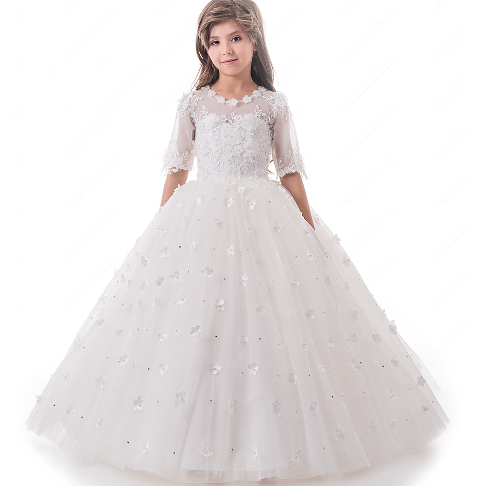 Flower Girl Dresses White/Ivory Ball Gown Half Sleeves Appliques Lace O-Neck 3D Flowers Girls Communion Gowns green crew neck roll half sleeves mini dress