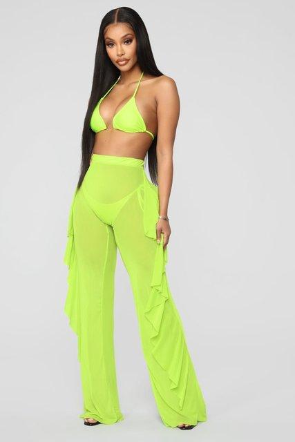 Women Sexy Ruffle Beach Mesh Pants Sheer Wide Leg Pants Transparent 5