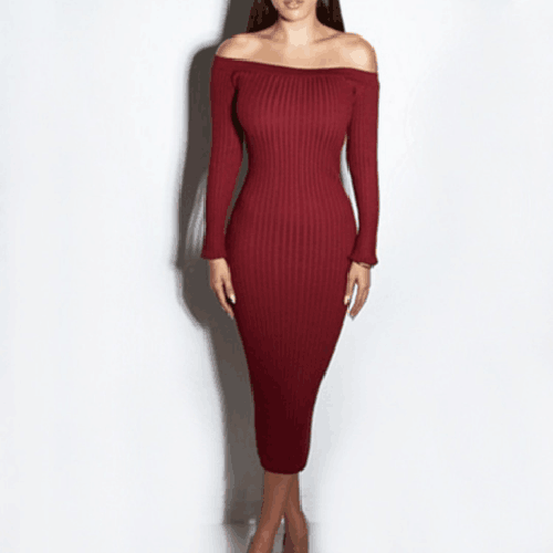 Open Shoulder Long Sleeve Slash Neck Knitted Sexy Women Dress 2018 Knee Length Female Bodycon Slim Party Club M0615-B long criss cross open back formal party dress
