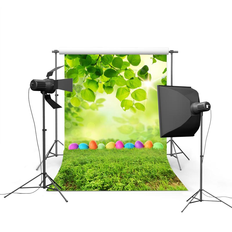 2017 new spring easter photography backdrops green tree eggs new born baby children photographic background Easter Day P1191