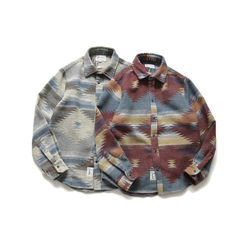 Flannel Shirts Folk-custom Shirts For Men Vintage Woolen Leisure Pattern Dress Casual Shirt Men Japanese Streetwear Shirts