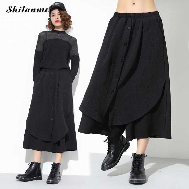 Women Black   Pants   Casual Loose Wide Leg   Pants   2018 Spring Fashion Punk Hip Hop Loose Skirt Trousers Seven Point   Capris     Pants