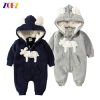ZOFZ Baby Clothes Autumn Winter Clothing for Newborn Warm Soft Romper Kid Cotton Hooded Romper Animal Printed Baby Girls Clothes
