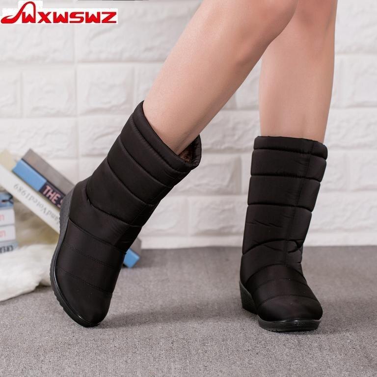 WXWSWZ Winter Shoes Boots Female Girls Waterproof Mid-Calf Woman Ladies Plush