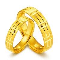 Твердые 24 К кольцо из желтого золота любителей кольцо 999 Золото геометрический обручальное кольцо