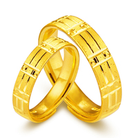 Solid 24K Yellow Gold Ring Lovers Ring 999 Gold Geometric Wedding Ring Band