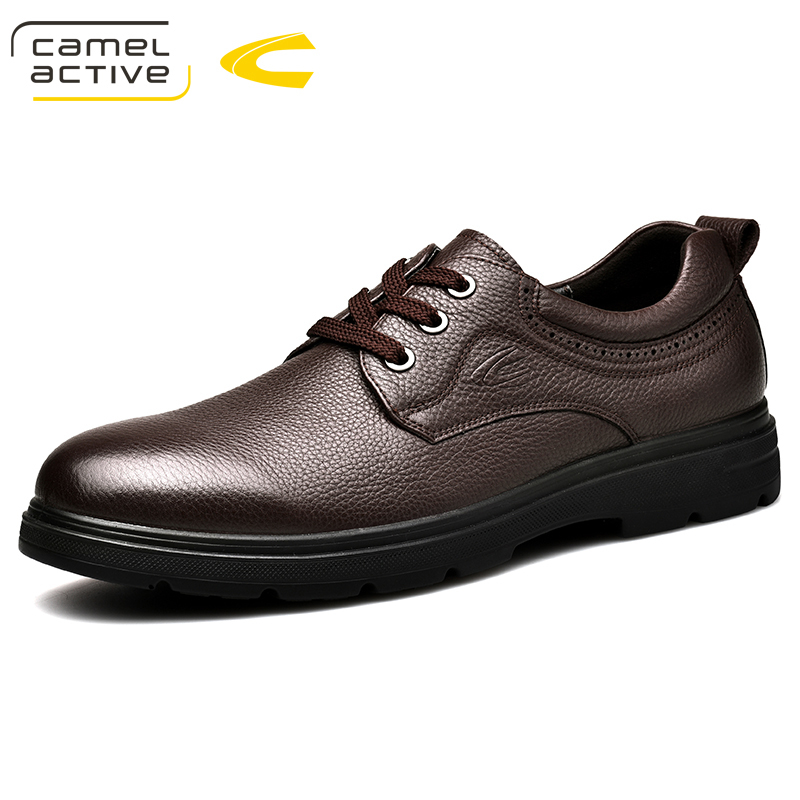Camel Active New Men Wedding Black Lace Up Oxford Genuine Leather Shoes Spring/Autumn Party Business Male Dress Brown Shoes