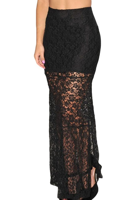 6XL pencil lace up skirt high waist plus size bodycon floor-length lace hollow out Black Skirt