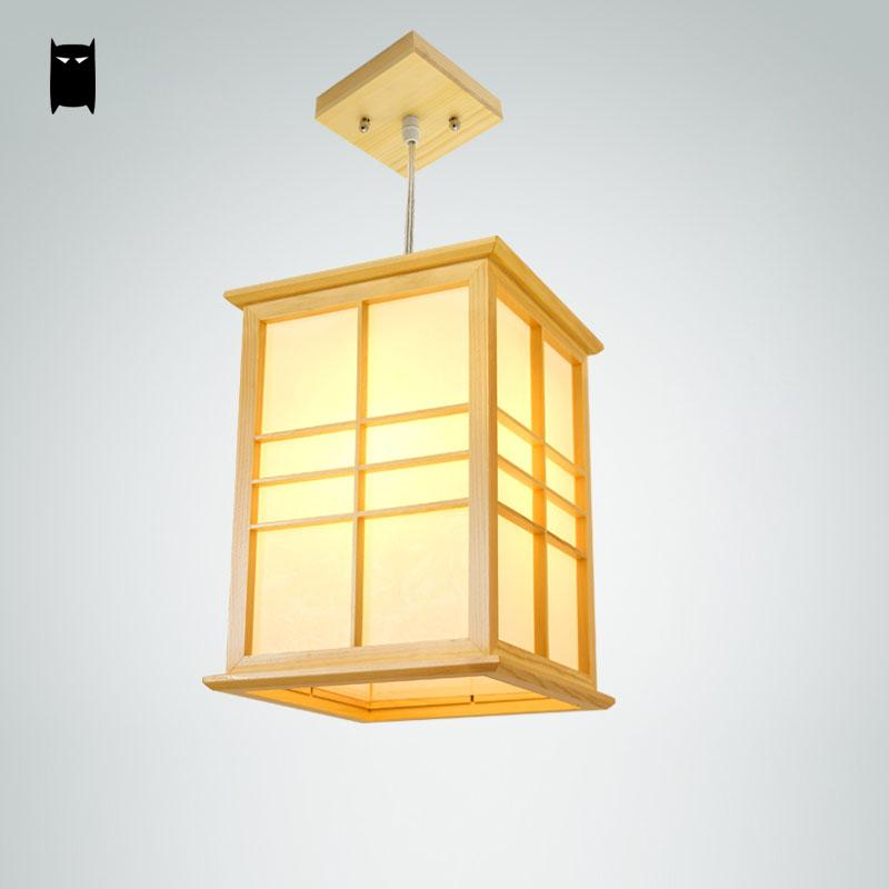 Ceiling Light Japanese: Square Oak Wood Tatami Pendant Light Fixture Country