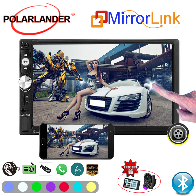 2 Din Mirror Link Screen Car Radio Player 7 inch Touch Screen Bluetooth Radio Automagnitol Rear Camera Mirror For Android Phone