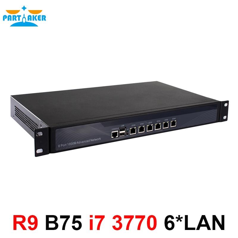 Partaker R9 vpn firewall Quad Core i7 3770 1U network Firewall router appliance hardware with 6*1000M 82583V Gigabit