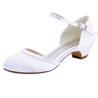 Mary-jane HC1621 Mujeres Zapatos de Novia Blanco Marfil Nupcial Del Partido de Tarde Bombea Punta Cerrada Tacones Bajos Zapatos de Raso De Novia