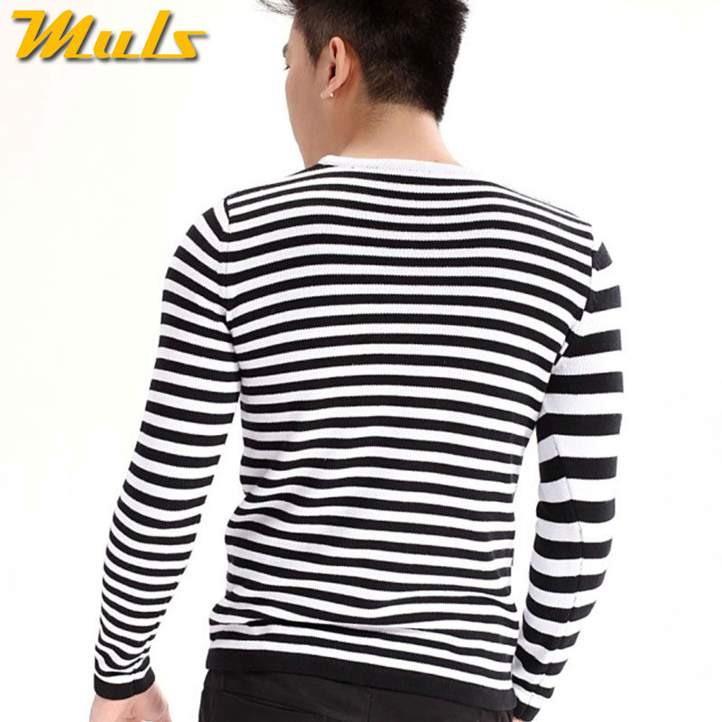 Casual Style Black And White Stripes Sweaters Men Long Sleeve Shirt