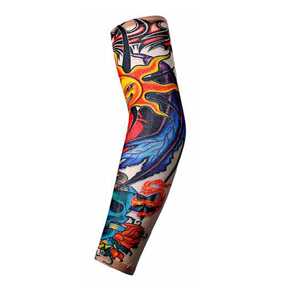 Men Women Anti-Sunshine Tattoo Arm Leg Sleeves High Elastic Nylon Halloween Party Dance Party Tattoo Sleeve