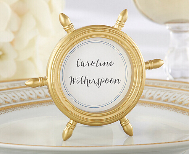 Wedding Decorations 15pcs Frame Wedding Gift Gold Ship Wheel Picture/Photo Frame Place Card Holder Favors