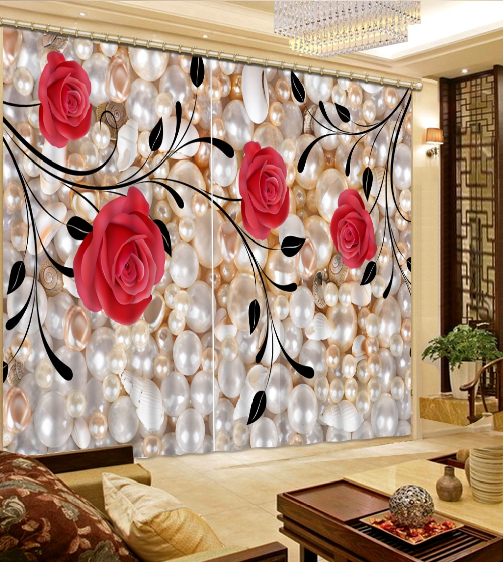 Cheap red curtains - Top Classic 3d European Style Red Rose Flower Custom Curtain Fashion Decor Home Decoration For Bedroom