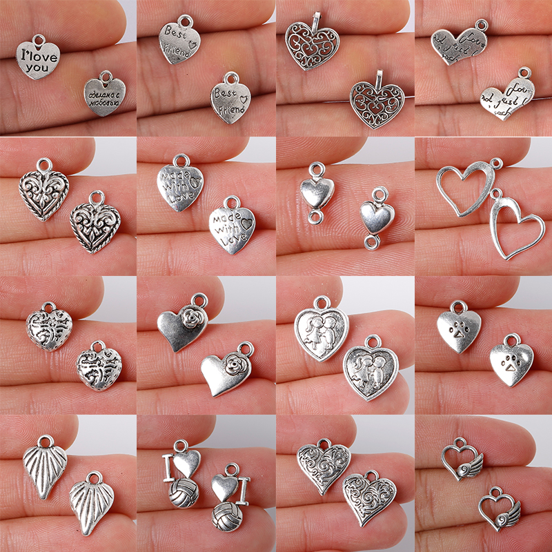 10-55Pcs Alloy Silver Heart Shape Jewelry Findings Charms Pendant Classic DIY Fashion Jewelry Necklace
