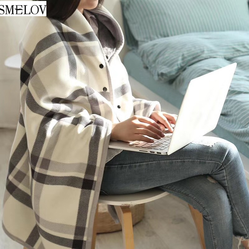 Plaid Wearable Warm Flannel Blanket Home Office Sofa Travel Airplane Legs Knee Lazy Throw Wrap Scarf Shawl Cape Poncho Blankets