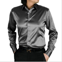 Men Shirt Fashion Korea Silk Shirt Satin Mens Long Sleeve Camisa Hombre Couples Shirt Wedding Dress
