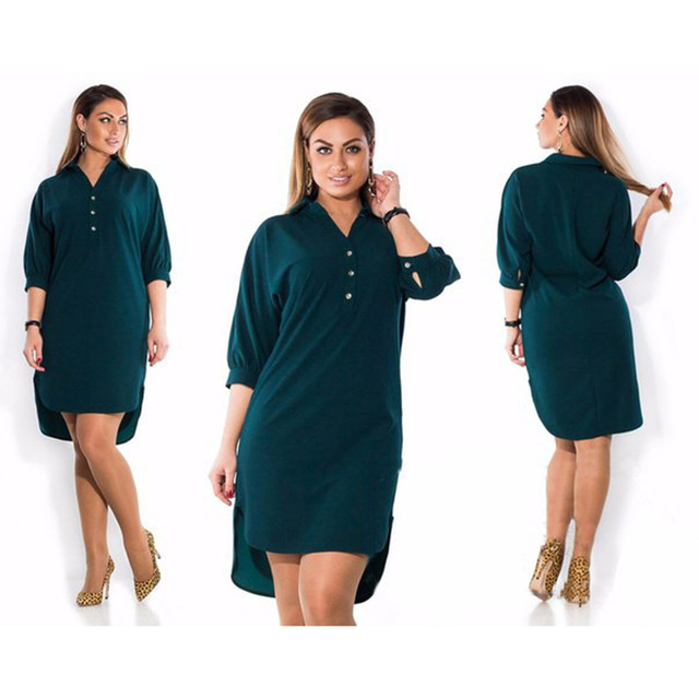 Big Size 2019 New Summer Dresses Fashion Women Irregular Casual Black Mini Shirt  Dress Plus Size Women Clothing Vestidos 5XL 6XL-in Dresses from Women s ... 4f8e84d20a81