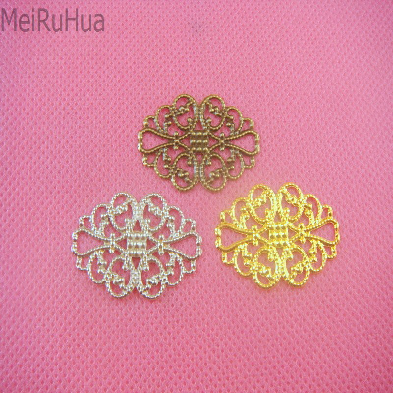 20 pieces/lot 2x3.2cm metal Filigree Flower Wrap Connector Jewelry DIY Components