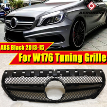 W176 A45 look Sport Grille grill ABS Gloss Black A Class A180 A200 A250 Front Bumper Grills double-fin Without Sign 2013-2015