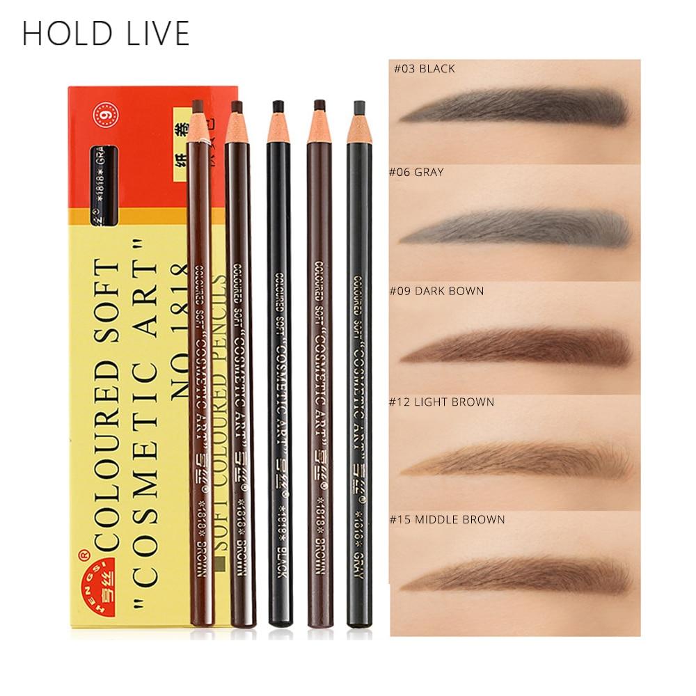 HOLD LIVE 12Pcs/Set Pull Line Eyebrow Pencil Waterproof Long Lasting Black Brown Silky Texture Eye Brow Enhancers Natural Makeup