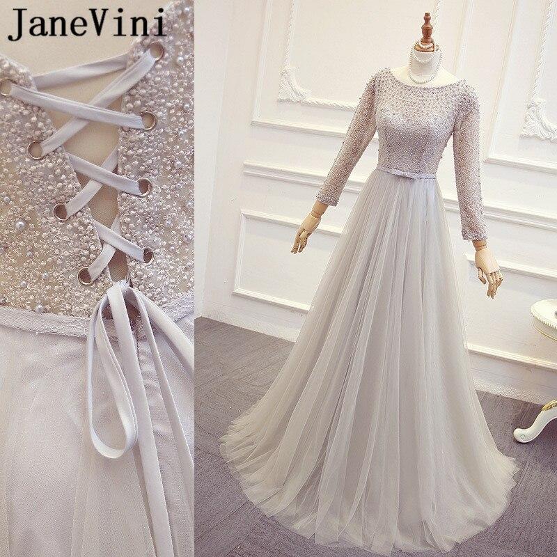 JaneVini Dubai Light Gray Pearls Ladies Wedding Party   Dresses   For Women Long Sleeve Lace Tulle   Bridesmaid     Dresses   Girl Jurk Lang